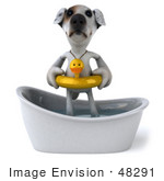 #48291 Royalty-Free (Rf) Illustration Of A 3d Jack Russell Terrier Dog Mascot Bathing - Pose 1