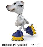 #48292 Royalty-Free (Rf) Illustration Of A 3d Jack Russell Terrier Dog Mascot Roller Blading - Pose 4