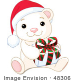 #48306 Clip Art Illustration Of A Cute Baby Polar Bear Wearing A Santa Hat And Holding A Xmas Gift by pushkin