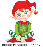 #48437 Clip Art Illustration Of A Happy Xmas Elf Sitting On The Floor by pushkin