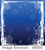 #48505 Clip Art Illustration Of A White Grungy Frame Over A Blue Square Snowflake Xmas Background by pushkin