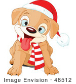 #48512 Clip Art Illustration Of A Happy Sitting Xmas Puppy Wearing A Scarf And Santa Hat by pushkin