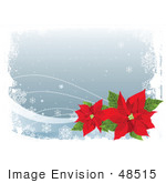 #48515 Clip Art Illustration Of A Gray Winter Xmas Background With Snowflakes, White Grunge And Red Poinsettias by pushkin