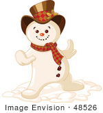 #48526 Clip Art Illustration Of A Happy Dancing Snowman by pushkin