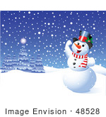 #48528 Clip Art Illustration Of A Happy Xmas Snowman Playing In The Snow by pushkin