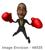 #48535 Royalty-Free (Rf) 3d Illustration Of A Black Businessman Mascot Boxing - Version 5