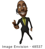 #48537 Royalty-Free (Rf) 3d Illustration Of A Black Businessman Mascot Pointing His Fingers Like A Gun And Wearing A Headset - Version 1