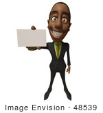 #48539 Royalty-Free (Rf) 3d Illustration Of A Black Businessman Mascot Holding Out A Blank Business Card - Version 2