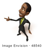#48540 Royalty-Free (Rf) 3d Illustration Of A Black Businessman Mascot Pointing His Fingers Like A Gun - Version 2