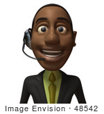 #48542 Royalty-Free (Rf) 3d Illustration Of A Black Businessman Mascot Smiling And Wearing A Headset - Version 1