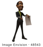#48543 Royalty-Free (Rf) 3d Illustration Of A Black Businessman Mascot Holding Out A Contract And Pen - Version 2