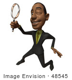 #48545 Royalty-Free (Rf) 3d Illustration Of A Black Businessman Mascot Holding A Magnifying Glass - Version 3