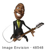 #48548 Royalty-Free (Rf) 3d Illustration Of A Black Businessman Mascot Playing An Electric Guitar - Version 4