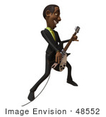 #48552 Royalty-Free (Rf) 3d Illustration Of A Black Businessman Mascot Playing An Electric Guitar - Version 3