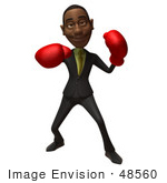 #48560 Royalty-Free (Rf) 3d Illustration Of A Black Businessman Mascot Boxing - Version 3
