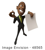 #48565 Royalty-Free (Rf) 3d Illustration Of A Black Businessman Mascot Holding Out A Contract And Pen - Version 5