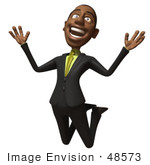 #48573 Royalty-Free (Rf) 3d Illustration Of A Black Businessman Mascot Jumping And Smiling - Version 1