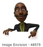#48575 Royalty-Free (Rf) 3d Illustration Of A Black Businessman Mascot Pointing Down And Standing Behind A Blank Sign - Version 2