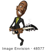 #48577 Royalty-Free (Rf) 3d Illustration Of A Black Businessman Mascot Playing An Electric Guitar - Version 5