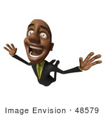 #48579 Royalty-Free (Rf) 3d Illustration Of A Black Businessman Mascot Flying