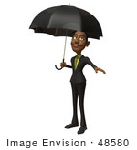 #48580 Royalty-Free (Rf) 3d Illustration Of A Black Businessman Mascot Standing Under An Umbrella