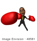 #48581 Royalty-Free (Rf) 3d Illustration Of A Black Businessman Mascot Boxing - Version 6