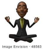 #48583 Royalty-Free (Rf) 3d Illustration Of A Black Businessman Mascot Meditating - Version 2