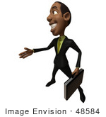 #48584 Royalty-Free (Rf) 3d Illustration Of A Black Businessman Mascot With A Briefcase Holding His Hand Out - Version 4
