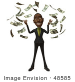 #48585 Royalty-Free (Rf) 3d Illustration Of A Black Businessman Mascot Throwing Cash Into The Air - Version 3