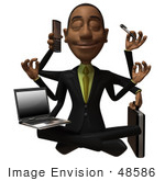#48586 Royalty-Free (Rf) 3d Illustration Of A Black Businessman Mascot Multi Tasking - Version 1
