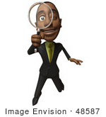 #48587 Royalty-Free (Rf) 3d Illustration Of A Black Businessman Mascot Holding A Magnifying Glass - Version 2