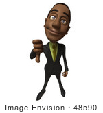 #48590 Royalty-Free (Rf) 3d Illustration Of A Black Businessman Mascot Giving The Thumbs Down