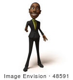 #48591 Royalty-Free (Rf) 3d Illustration Of A Black Businessman Mascot Pointing His Fingers Like A Gun - Version 5