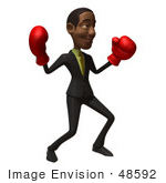 #48592 Royalty-Free (Rf) 3d Illustration Of A Black Businessman Mascot Boxing - Version 4