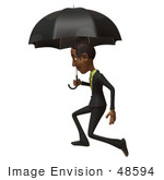 #48594 Royalty-Free (Rf) 3d Illustration Of A Black Businessman Mascot Walking Under An Umbrella