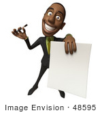 #48595 Royalty-Free (Rf) 3d Illustration Of A Black Businessman Mascot Holding Out A Contract And Pen - Version 3