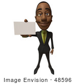 #48596 Royalty-Free (Rf) 3d Illustration Of A Black Businessman Mascot Holding Out A Blank Business Card - Version 1
