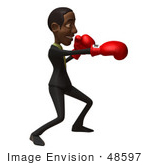 #48597 Royalty-Free (Rf) 3d Illustration Of A Black Businessman Mascot Boxing - Version 1