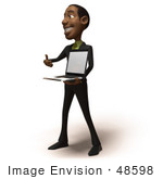 #48598 Royalty-Free (RF) 3d Illustration Of A Black Businessman Mascot Holding A Laptop - Version 2 by Julos