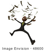 #48600 Royalty-Free (Rf) 3d Illustration Of A Black Businessman Mascot Throwing Cash Into The Air - Version 1