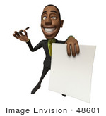 #48601 Royalty-Free (Rf) 3d Illustration Of A Black Businessman Mascot Holding Out A Contract And Pen - Version 4