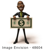 #48604 Royalty-Free (RF) 3d Illustration Of A Black Businessman Mascot Holding An Over Sized Dollar - Version 4 by Julos