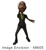 #48605 Royalty-Free (Rf) 3d Illustration Of A Black Businessman Mascot Holding A Magnifying Glass - Version 1