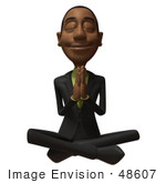#48607 Royalty-Free (Rf) 3d Illustration Of A Black Businessman Mascot Meditating - Version 3