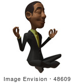 #48609 Royalty-Free (Rf) 3d Illustration Of A Black Businessman Mascot Meditating - Version 1