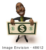 #48612 Royalty-Free (Rf) 3d Illustration Of A Black Businessman Mascot Holding An Over Sized Dollar - Version 1