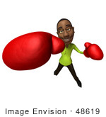 #48619 Royalty-Free (Rf) Illustration Of A 3d Black Man Mascot Boxing - Version 6