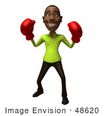 #48620 Royalty-Free (Rf) Illustration Of A 3d Black Man Mascot Boxing - Version 2