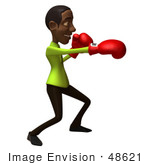#48621 Royalty-Free (Rf) Illustration Of A 3d Black Man Mascot Boxing - Version 1