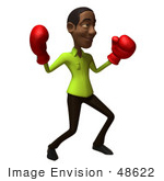 #48622 Royalty-Free (Rf) Illustration Of A 3d Black Man Mascot Boxing - Version 4